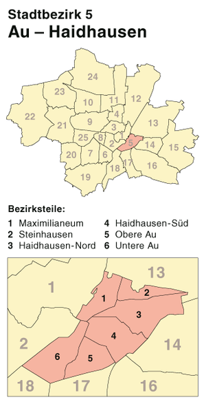 Au-Haidhausen - Borough 5 Au-Haidhausen, Location in Munich
