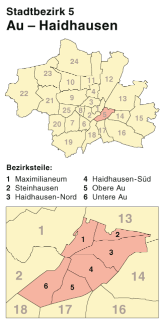 Au-Haidhausen - Borough 5 Au-Haidhausen, Location in Munich
