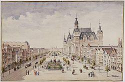 M. Hendrickx - Damrakboulevard met beursgebouw (1884).jpg