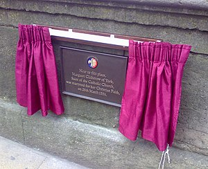 Margaret Clitherow - Commemorative plaque on the Ouse Bridge, York