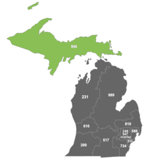 Area code 906 - Map of area code 906 in Michigan.