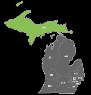 Area code 906 - Map of area code 906 in Michigan.