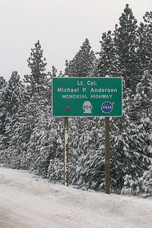 Michael P. Anderson -  Sign along Washington State Route 904, commemorating Lt. Col. Michael P. Anderson.