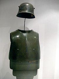 World War I German Stahlhelm and prototype anti-shrapnel armour.