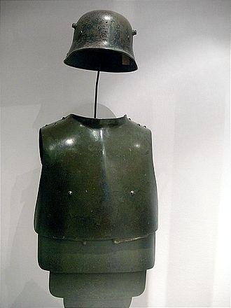 Stahlhelm - World War I Stahlhelm and anti-shrapnel body armour.