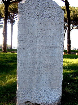 Collegium (ancient Rome) - Inscription (CIL 14.374) from Ostia Antica commemorating a Marcus Licinius Privatus, who was magister of a college of carpenters
