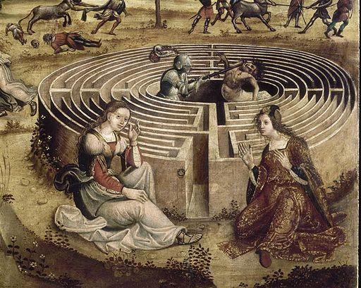 Maître des Cassoni Campana - La légende crétoise en quatre compositions (détail Labyrinthe) - 1500-1525