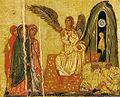 Maestro della croce 434, crocifisso 434, uffizi, dettaglio pie donne al sepolcro.jpg