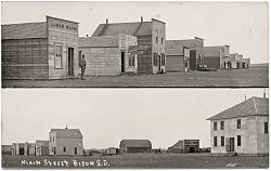 Postcard view of Main Street in Bison in 1915.