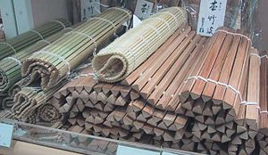 Makisu - A selection of makisu mats with bamboo sticks of different thicknesses