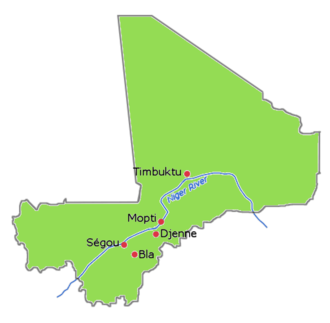 Bamana Empire - Some of the cities in Mali which were under the control of the Bamana Empire.