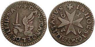 Maltese units of measurement - Grano coin of 1726