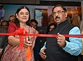 Maneka Sanjay Gandhi inaugurating the DAVP exhibition, at the All India Regional Editors Conference, organised by the Press Information Bureau, at Jaipur. The Minister of Social Justice & Empowerment and Minority Affairs.jpg