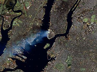 Health effects arising from the September 11 attacks - September 12 from space: Manhattan spreads a large smoke plume
