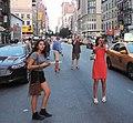 Manhattanhenge 14 St sun observers jeh.jpg