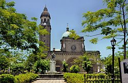 Plaza de Roma is dominated by the Manila Cathedral, the seat of the Roman Catholic Archdiocese of Manila.