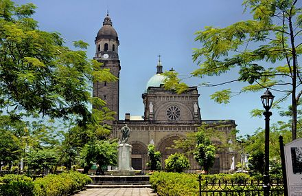 Roman Catholic Cathedral-Basilica of the Immaculate Conception, the metropolitan see of the Archbishop of Manila, Philippines. Manila Cathedral,inside Intramuros.JPG