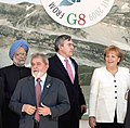 Manmohan Singh with the Brazil's President Mr. Luiz Inacio Lula da Silva, the British Prime Minister, Mr. Gordon Brown and the German Chancellor, Ms. Angela Merkel, at a photo session at G-8 & G-5 meeting, in L'Aquila, Italy.jpg