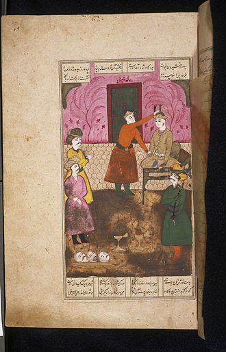 Manuchehr - Old Persian painting, depicting Manuchehr sitting on the royal throne