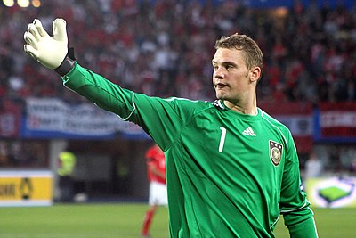 German goalkeeper Manuel Neuer is known for his distribution. Manuel Neuer, Germany national football team (07).jpg