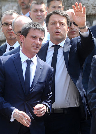 "Third Way - Manuel Valls and Matteo Renzi, contemporary political leaders considered to follow the ""Third Way"""