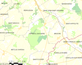 Mapa obce Verneuil-sur-Indre