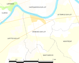 Mapa obce Granges-sur-Lot