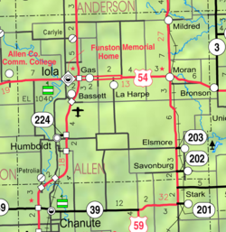 KDOT map of Allen County (legend)
