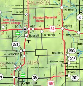 Counties Kansas Map.Allen County Kansas Wikipedia