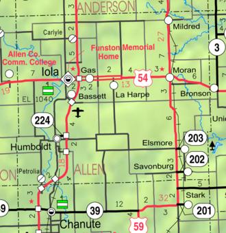 Iola, Kansas - Image: Map of Allen Co, Ks, USA