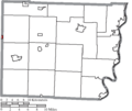 Map of Belmont County Ohio Highlighting Fairview Village.png