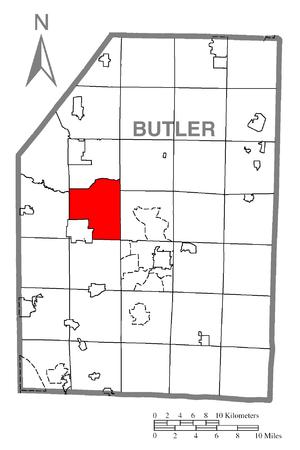 Franklin Township, Butler County, Pennsylvania - Image: Map of Franklin Township, Butler County, Pennsylvania Highlighted