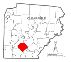 Map of Clearfield County, Pennsylvania highlighting Jordan Township