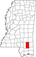 Map of Mississippi highlighting Perry County