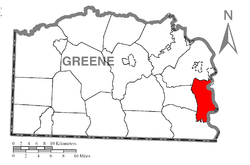 Location of Monongahela Township in Greene County