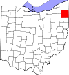 State map highlighting Trumbull County