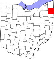 Map of Ohio highlighting Trumbull County