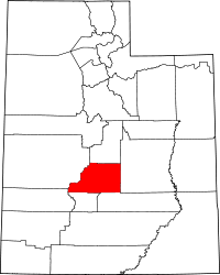 Map of Utah highlighting Sevier County