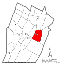 Map of Bedford County, Pennsylvania highlighting West Providence Township