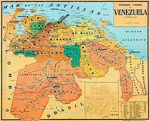 United States of Venezuela - Image: Mapa de los Estados Unidos de Venezuela