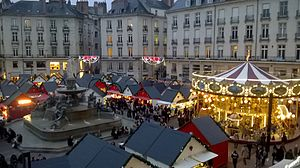 2014 Nantes attack - The Place Royale Christmas market one year after the attack