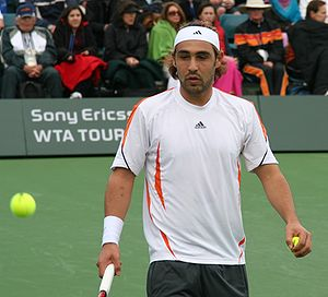 Marcos Baghdatis playing Bjorkman in Indian We...