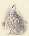 Maria Pia of Savoy, Queen of Portugal, wearing a sumptuous gown and ermine trimmed headdress (1864).png