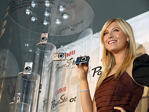Maria Sharapova unveiling the Canon PowerShot ...