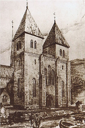 St Mary's Church, Oslo - Drawing of St. Mary's Church, based on a reconstruction