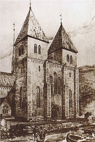 St. Mary's Church, Oslo - Drawing of St. Mary's Church, based on a reconstruction