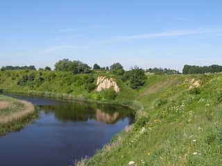The river Sesupe. Hillfort Meskuciai