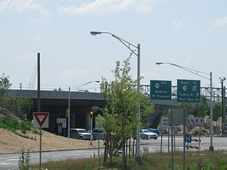 New Jersey Route 70 - Route 70 eastbound at interchange with Route 73 in Marlton, the former location of the Marlton Circle