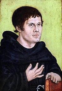 Lucas Cranach der Ältere (Werkstatt), 1522–24: Martin Luther in der Kleidung eines Augustiner-Eremiten, aber ohne Tonsur (Quelle: Wikimedia)