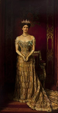 Mary Leiter, Lady Curzon, wearing a 1903 gown by Jean-Philippe Worth - William Logsdail 1909 portrait.jpg